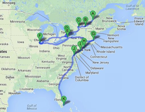 Road Map East Coast Usa